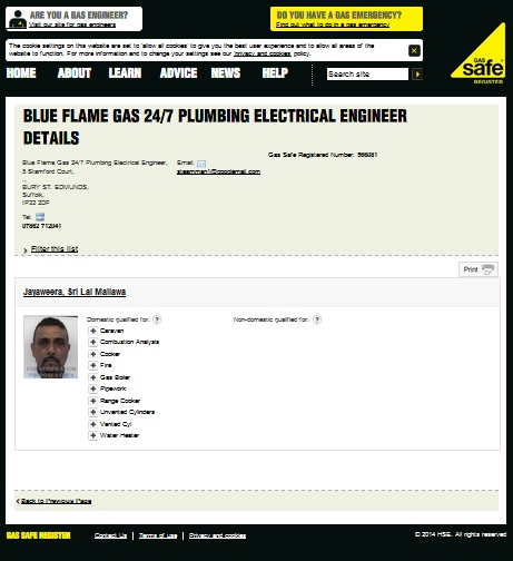check our entry on the gas safe register